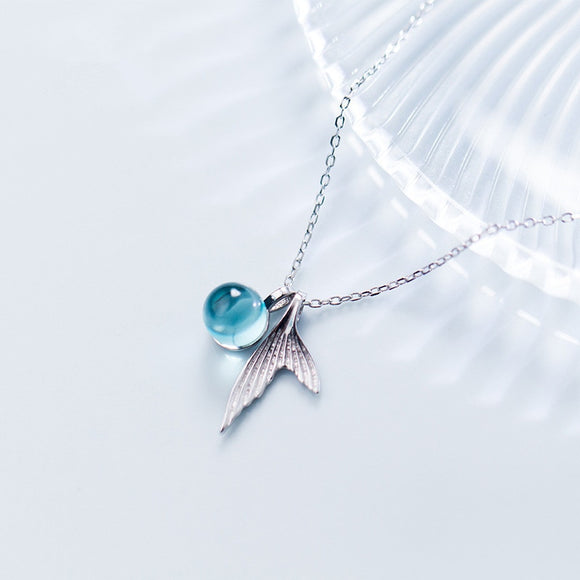 100% 925 Sterling Silver Blue Crystal Mermaid Pendant Necklace For Women Wedding Birthday Gift Creative Fashion Jewelry dz560