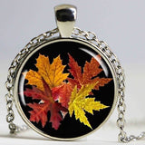 Fall Leaves Necklace, Fall Season Pendant, Resin Picture Charm, Autumn Jewelry, Round Bronze,Autumn Season Gift