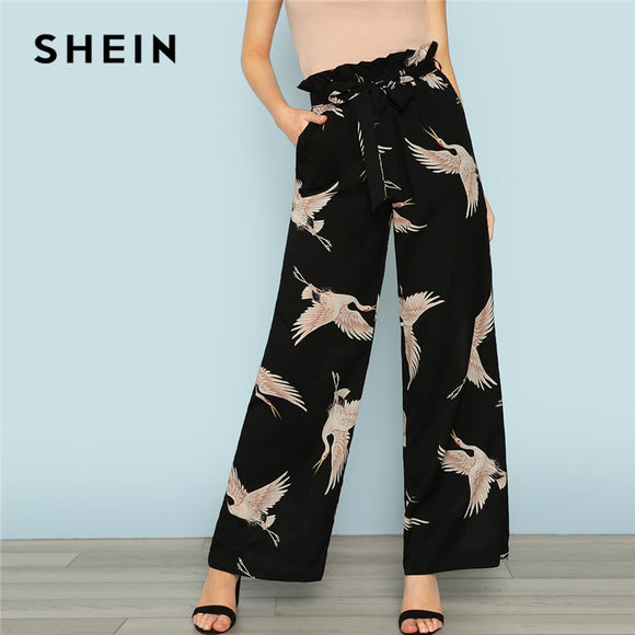 SHEIN Multicolor Vacation Boho Bohemian Beach Flamingo Print Self Belted Wide Leg High Waist Pants Summer Women Casual Trousers