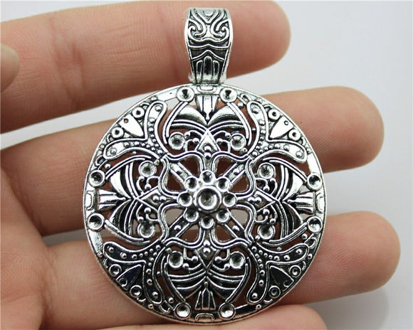 WYSIWYG 1pcs 61x46mm Bohemian Charm For Jewelry Making Tibetan Silver Bohemian Pendants Charm Gypsy Ethnic Hollow Carved Flower