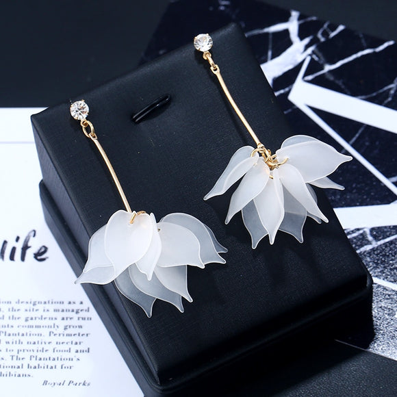 2018 New flower handmade bohemia boho earrings women fashion long hanging earrings crystal female wedding earings party jewelry