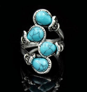 Retro fashion four ancient Turquoises rings Bohemia ethnic rings