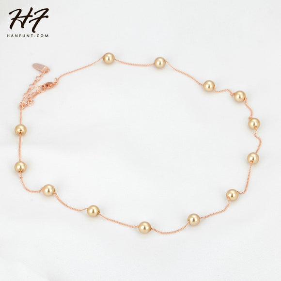 Rose Gold Color String of Beads 5mm Synthetic Simulated Pearl Necklace Women N251 N461 N589