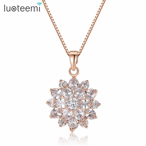 LUOTEEMI Luxury 2015 New Fashion Rose Gold-Color Snow Flower CZ Costume Jewelry Necklace for Women Party Gift Factory Wholesale