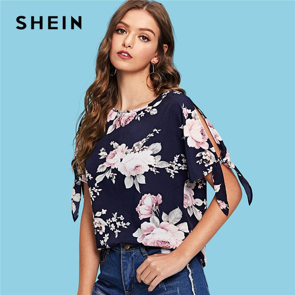 SHEIN Multicolor Split Knot Sleeve Floral Print Top Vacation Casual Short Sleeve Blouse Women Going Out Summer Shirt Top