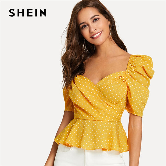 SHEIN Yellow Vacation Boho Bohemian Beach Backless Polka Dot Short Sleeve Wrap Front Blouse Summer Sexy Women Tops And Blouses