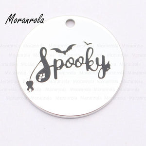"new arrive ""spooky ""Necklace &keychain charm Halloween Hand stamped jewelry Ghost spider web necklace Halloween Autumn keychain"