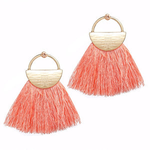 17KM Bohemian Yellow Tassel Drop Earrings For Women Girl 2018 Fashion Fabric Wedding Earrings Gold Pink Female Party Jewelry - The Rogue's Clothes