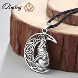 QIMING Wolf Night Voices Celtic Necklace Men Vintage Jewelry Valknut Odin 's Symbol of Norse Viking Warriors Women Punk Necklace