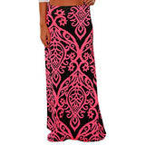 Womens Ladies Vintage Coral Print High Waist Skater Skirt Long Maxi Skirt