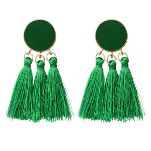 Women Geometrical Fashion Ethnic Tassel Earrings Bohemian Beaded Dangle Drop Earring Retro Jewelry