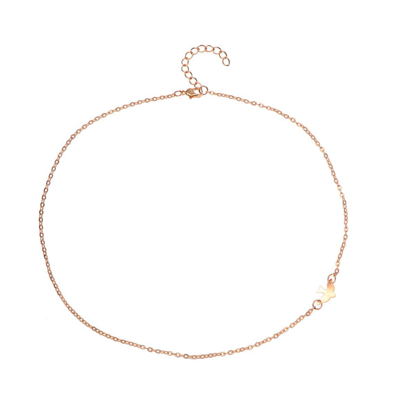 Peace Dove Necklace Extreme Simplicity Gold Choker Necklace Fashion Statement Necklace for Women Jewelry