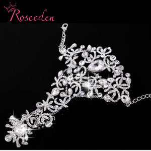 Bohemian wedding Bracelets with finger  Luxury rhinestone  Slave Bracelet chain  Hot Sale shiny Wedding Jewelry RE777