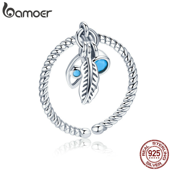 BAMOER Genuine 925 Sterling Silver Bohemian Feathers Vintage Styles Open Size Rings for Women Sterling Silver Jewelry SCR431 - The Rogue's Clothes