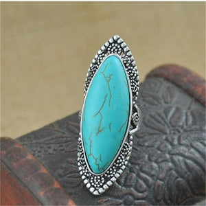 MISANANRYNE 2017 Green Stone Ring For Women Antique Silver Color Oval Natural Stone Fashion Vintage Jewelry
