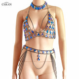 Chran Blue Iridescent Chainmail Bralette Body Choker Necklace Festival Bra Crop Top Wear Sexy Skirt Lingerie Set Holiday Jewelry