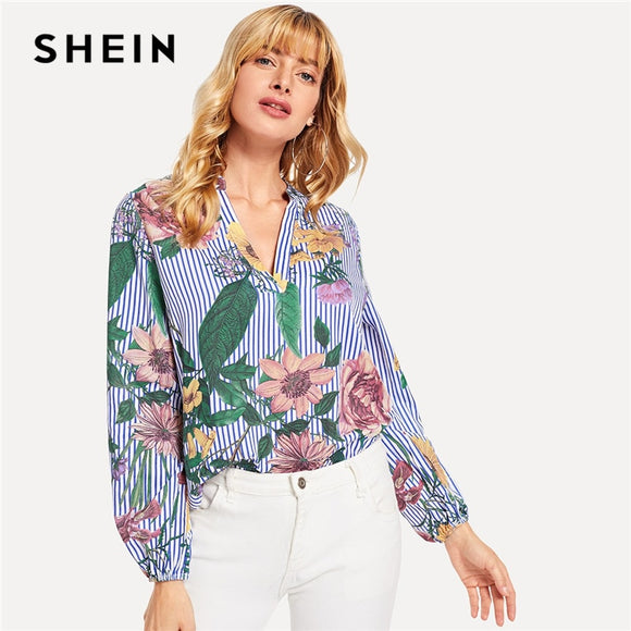 SHEIN Blue Vacation Boho Bohemian Beach V-Cut Floral Print Long Sleeve Striped Blouse New Autumn Holiday Women Blouses And Tops