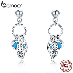 BAMOER 100% 925 Sterling Silver Vintage Bohemian Feathers Blue Eye Stud Earrings For Women Sterling Silver Jewelry SCE436 - The Rogue's Clothes