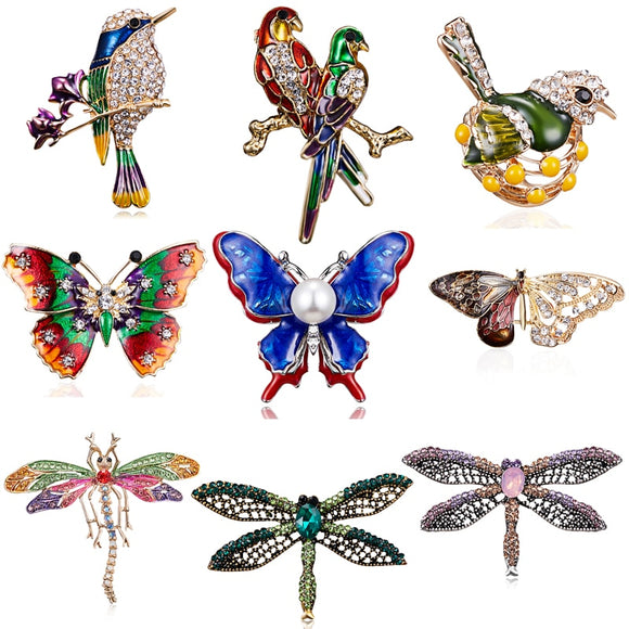 RINHOO Fashion Handmade Colorful Butterfly Couple Birds Dragonfly Crystal Rhinestone Brooch Pin for Women Lady Costume Jewelry