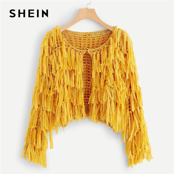SHEIN Yellow Solid Hook and Eye Closure Layered Fringe Cardigan Vacation Beach Plain Crop Sweater Women Autumn Sweaters