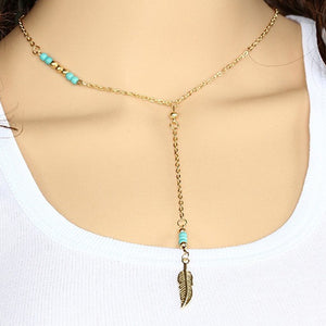 Turquoise Feather Beaded Pendant