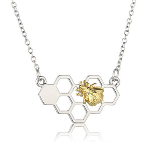 Chic Silver Gold Bee On The Honeycomb Necklace Pendant for Women