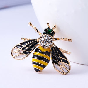 RINHOO Fashion Yellow Bee Spider Brooches For Men Cartoon Jewelry Fashion Women's Statement Small Scarf Pins Insect Broches