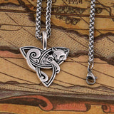 Hot New Style Viking Jewelry Celtic Knots fox/cat Necklaces &Pendants Triquetra Silver Color Metal Chain Gift For Women And Men