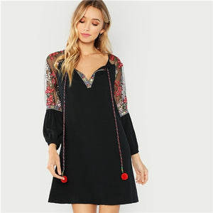 SHEIN Black Elegant Vacation Bohemian Beach Pompom Tie Neck Embroidered Mesh Raglan Sleeve Dress Autumn Women Holiday Dresses
