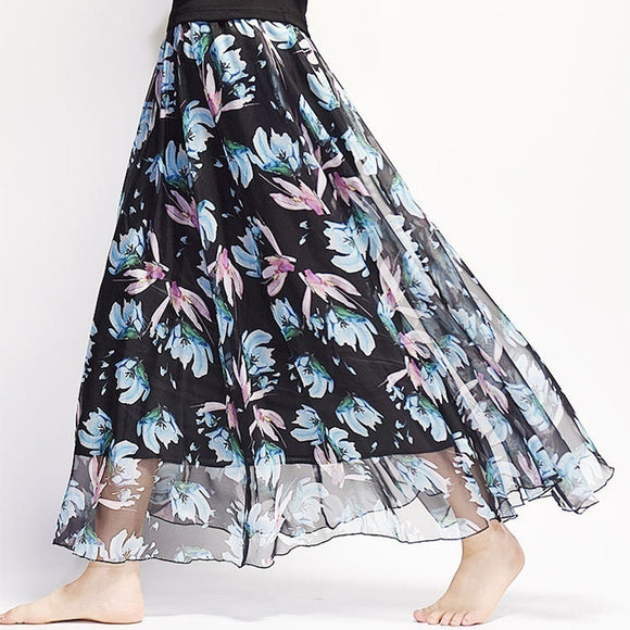 Bohemian Chiffon Flowers Printed Women Boho Long Maxi Beach Party Loose Flare Skirt - The Rogue's Clothes