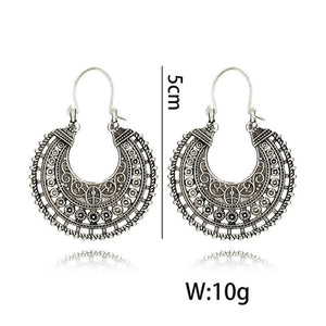 Boho New Hollow out Vintage Tibetan Silver Earring Hoop Dangle Earring For Women Fashion Jewelry CXY - The Rogue's Clothes