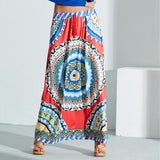Boho Style Summer Women's Long Skirt Retro Printed Elastic Waist Tassels Maxi Skirt Casual Femini Loose Beach Skirts - The Rogue's Clothes