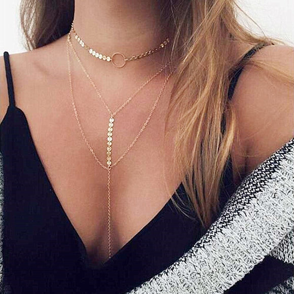 KISSWIFE Hot Sale Gold Silver Sequins Long Tassel Star Choker Necklace Accessories For Women Jewelry Double Layer Multilayer