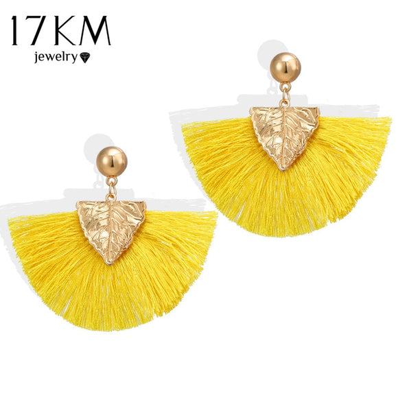17KM Bohemian Leaf Sector Tassel Earrings For Women 2018 New Statement Drop Dangle Earring Female Brincos Jewelry Drop Shipping - The Rogue's Clothes