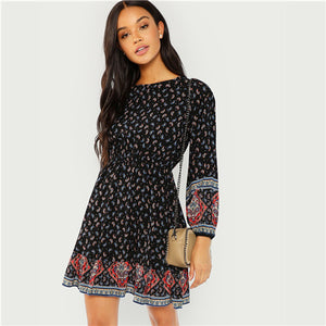 SHEIN Black Vacation Casual Boho Bohemian Beach Paisley Print Ruffle Hem Long Sleeve Dress 2018 Autumn Women Holiday Dresses