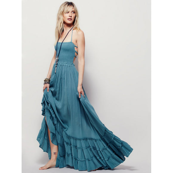 Fashion Women 2018 Summer Flared Gypsy Boho Long Maxi Full Skirt Party Beach Dress Evening Dresses