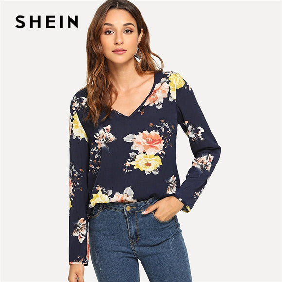 SHEIN Navy Floral Print Bell Sleeve Blouse Casual Elegant V Neck Flounce Sleeve Blouses Women Autumn Bohemian Shirt Tops