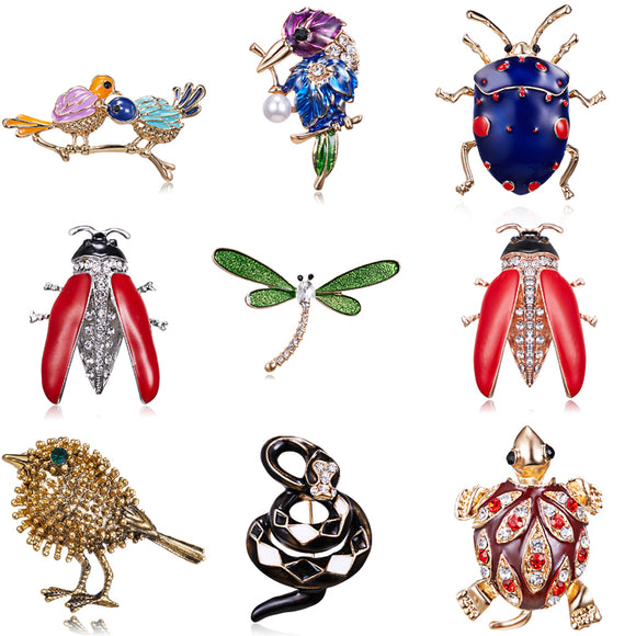 Animal Bird Insect Tortoise Dragonfly Snake Brooches Dress Collar Suit Beetle Banquet Decoration Brooch Pins Wedding Jewelry