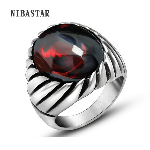 Black Onyx Red Opal Ring For Men Thick Band In Antique Titanium Stainless Steel Vintage Gothic Style Mens Acessories