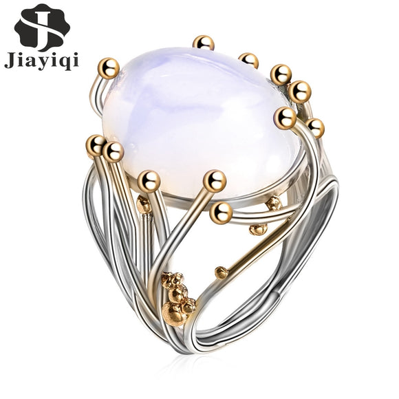 2018 Vintage Silver Natural Moonstone Ring White Opal Vine Rings For Women Wedding Jewelry - The Rogue's Clothes