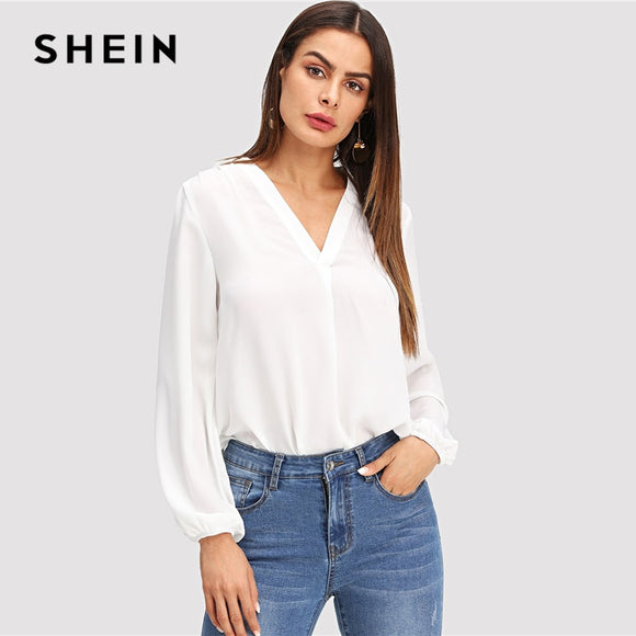 636f758dd35729 SHEIN White V Neck Plain Top Workwear Modern Lady Pullovers Long Sleeve  Blouse 2018 Fall Bohemian