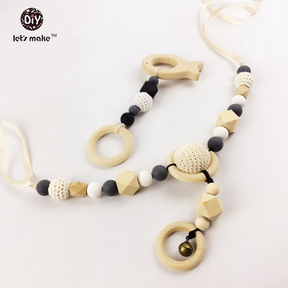 Let's Make 2pc Wooden Teether Crochet Beads Pram string Silicone Beads Baby troller Toy Crochet  Stroller chain Baby necklaces