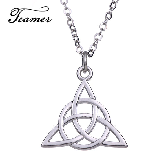 Teamer Irish Celtics Knot Pendant Necklace Simple Fashion Jewelry Silver Color Wicca Necklace for Female Adjustable AH111324