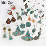 Bohemia earrings Collection Green leaf shell BOHO tassels Drop earrings Charm ear drop danglers Gypsy jewelry for Women girls - The Rogue's Clothes