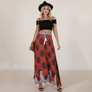 New Vintage Women Tassel Print Long Skirt Elastic High Waist Button Tie Up Boho Summer Beach Maxi Skirt