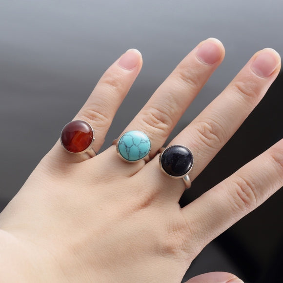 Vintage Antique Natural Stone Open Ring Fashion Jewelry Blue turquoises Sea Opal Finger Ring For Women Wedding Anniversary Rings