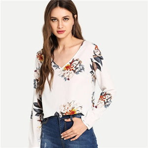 SHEIN White V Neck Floral Print Top Casual Elegant Casual Long Sleeve Blouses Women Autumn Modern Lady Bohemian Shirt Tops