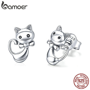 BAMOER Cat Collection 925 Sterling Silver Sticky Cat Animal Small Stud Earrings for Women Fashion Sterling Silver Jewelry SCE450 - The Rogue's Clothes