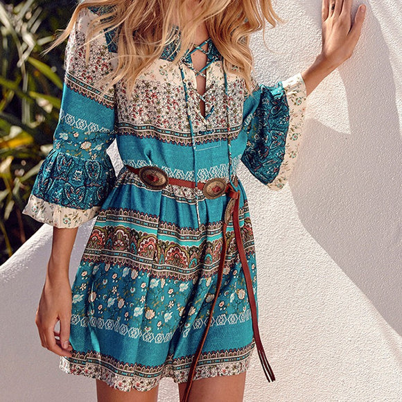 Sexy Women Fashion Bohemian Print Beach Holiday Dress Skirt