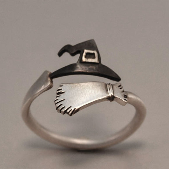 Fashion Rings Silver Tone Black Copper Rings Witch Hat Broom Style Creative Halloween Acessories Hot Charms